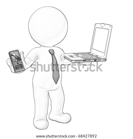 business man with laptop and mobile phone sketch