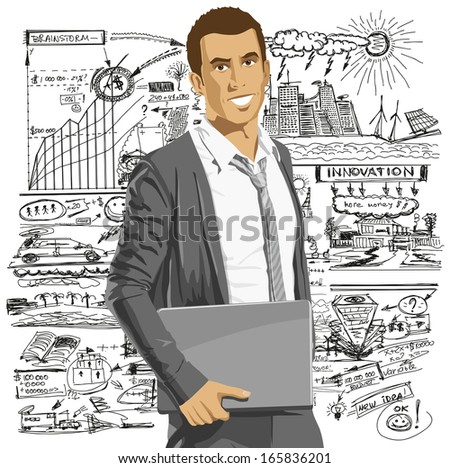 Business man with laptop in his hands