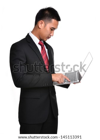 business man with laptop isolated on white background