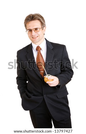 business man with mate - stock photo
