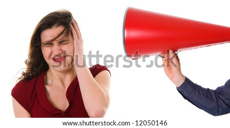business man with megaphone harassing colleague - stock photo