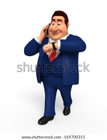 Business man with mobile - stock photo