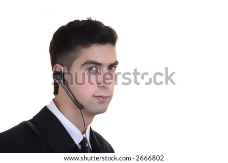 Business man with mobile over white background