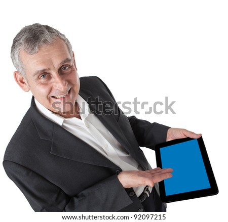 business man with modern tablet pc, Touch pad , smart phone - stock photo