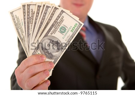 business man with money isolated in white background