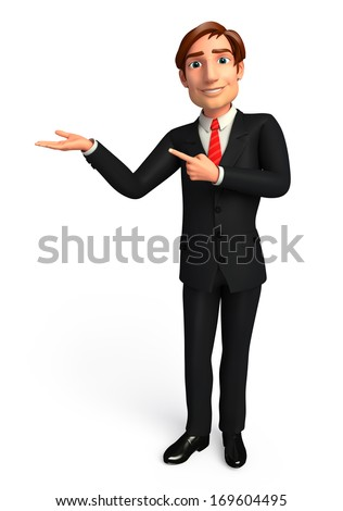 Business man with presentation - stock photo