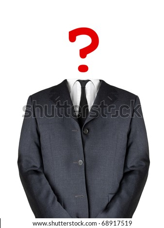 Business man with question mark head - stock photo