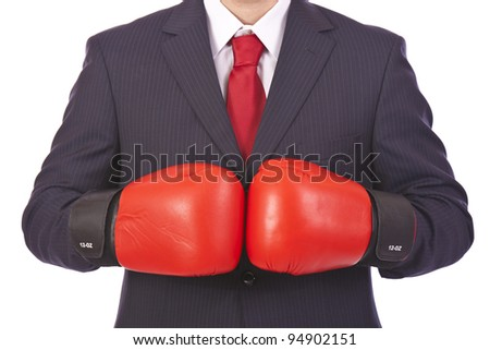 Business man with red gloves