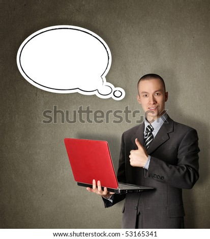 business man with red laptop ian thought bubble - stock photo