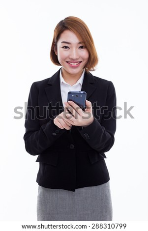Business man with smart cell phone isolated on white background.