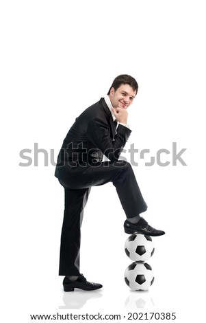 business man with soccer ball , Football manager - stock photo