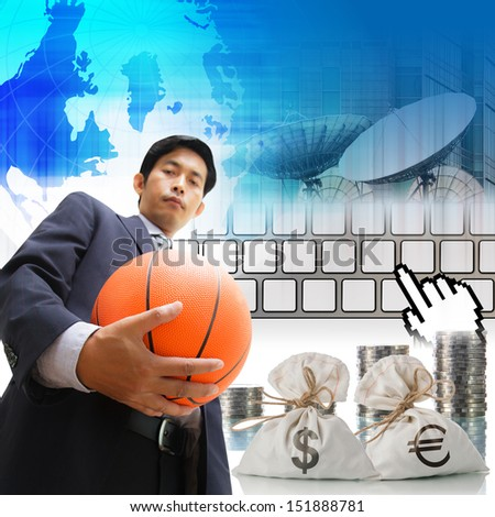 Business man with soccer ball, Sports business world - stock photo