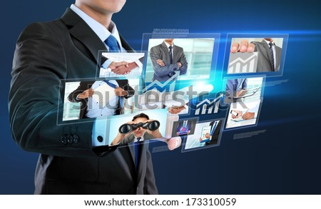 business man with social network connection concept. push to virtual screen - stock photo