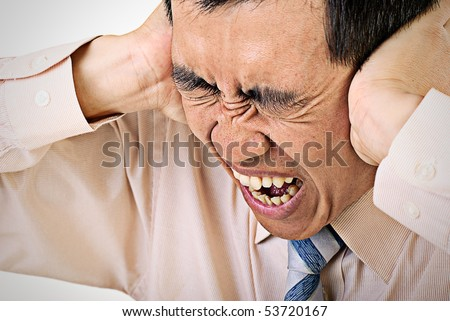 Business man with stress and expression with pain. - stock photo