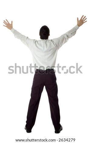 business man with success expression hands up on white - stock photo