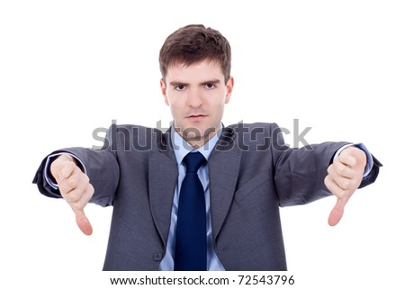 business man with thumbs down over white - stock photo