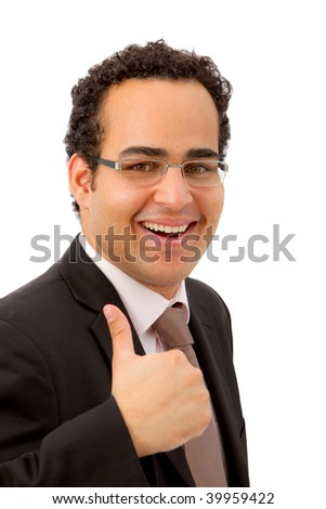 Business man with thumbs-up isolated on white