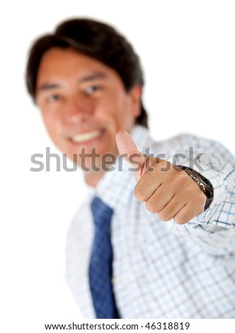 Business man with thumbs-up isolated over a white background