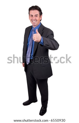 Business man with thumbs up isolated over a white background