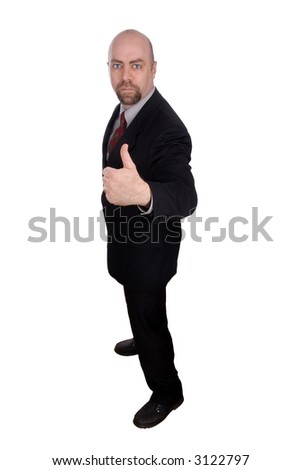 Business man with thumbs up isolated over a white background with a clipping path - stock photo