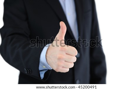 Business man with thumbs up isolated over white
