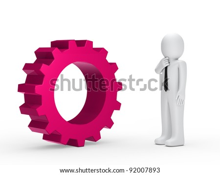 Business man with tie pink mechanical gear