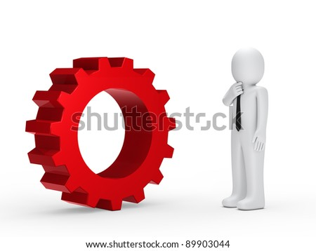 Business man with tie red mechanical gear