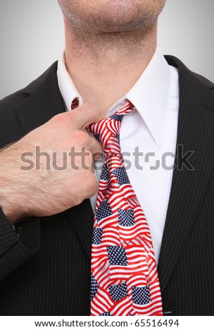 Business man with united states of america flag tie - stock photo