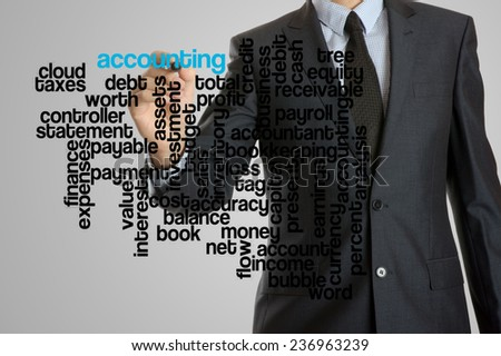 Business man with virtual interface of accounting wordcloud  - stock photo