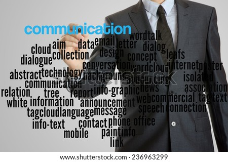 Business man with virtual interface of communication wordcloud