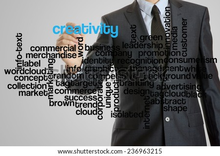 Business man with virtual interface of creativity wordcloud