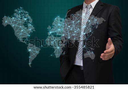 business man with visual world map screen , business concept