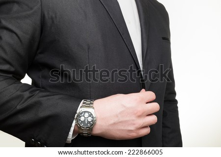 Business man with watch - stock photo