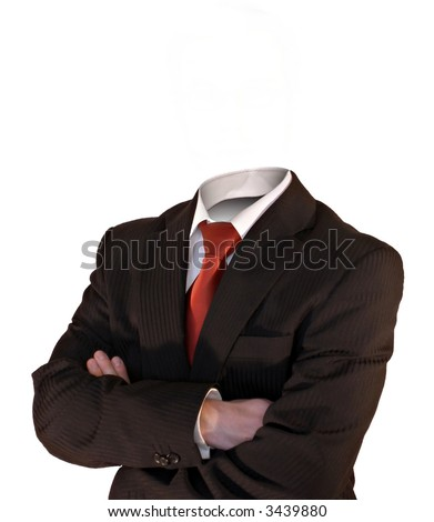 business man without a head isolated on white - stock photo