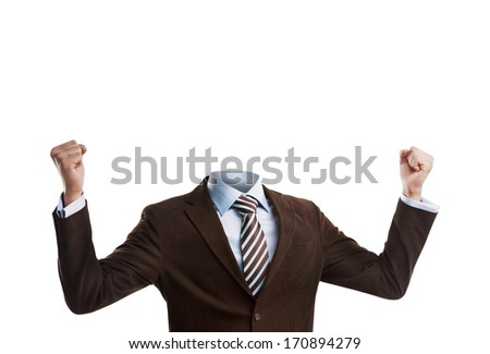 Business man without a head isolated on white background - stock photo