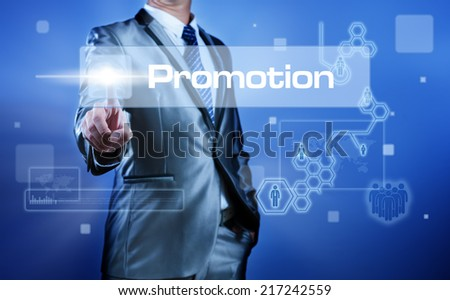 Business man working on digital virtual screen press on button promotion - stock photo