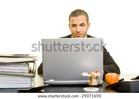 Business man working on his laptop - stock photo