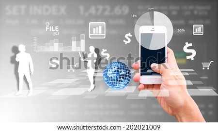 Business man working on smart phone : Elements of this image furnished by NASA - stock photo