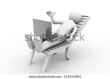 Business man working on the laptop. 3d image. - stock photo