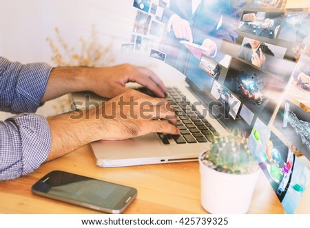 Business man working on virtual screen.business concept,technology - stock photo