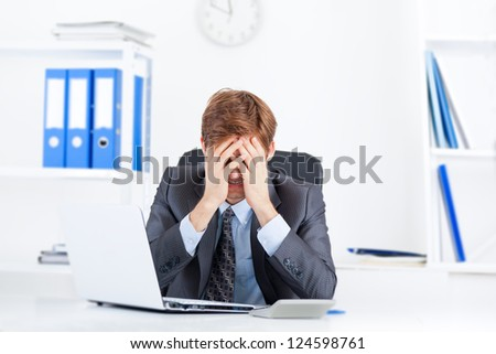business man working problem, hold head hand cover face pain, ache, businessman tired, overworked sitting at the desk stress, at office - stock photo