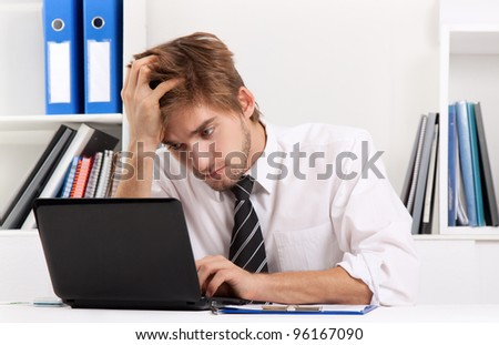 business man working problem using laptop looking at screen, hold head hand pain, ache, businessman tired, overworked sitting at the desk stress, at office, computer error concept - stock photo