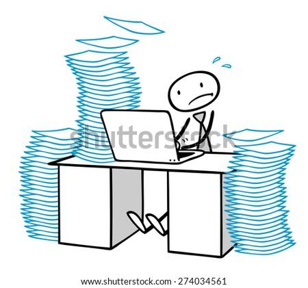 Business man working under stress at computer under pressure - stock photo