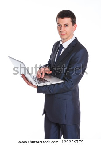 Business man working with a notebook. Isolated white background - stock photo