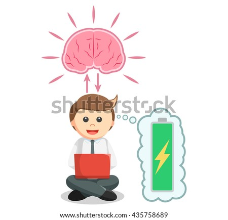 Business man working with full brain energy - stock photo