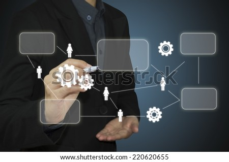 Business man working with modern computer - stock photo