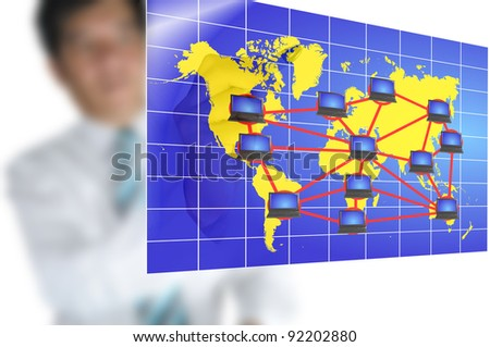 Business man write global network diagram on touch screen - stock photo