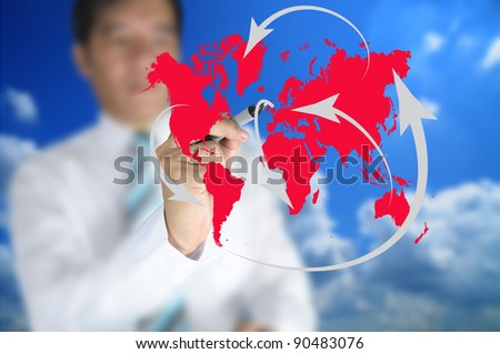 Business man write global network or globalization concept on touch screen