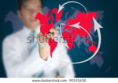 Business man write global network or globalization concept on touch screen - stock photo