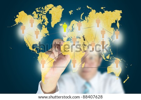 Business man write social network on touch screen - stock photo